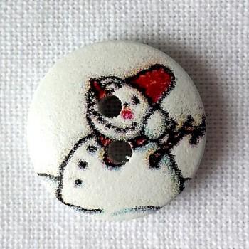 Bouton bois Bonhomme de neige