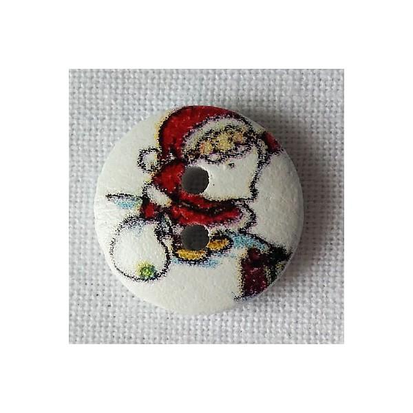 Bouton bois Père Noël